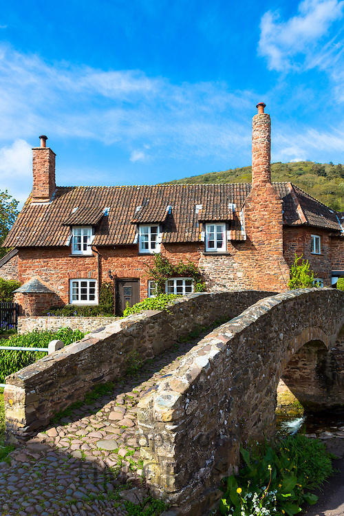 Famous traditional Drovers Bridge or Packhouse Packet Bridge at Allerford on Exmoor, Somerset, United Kingdom