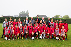 DINARD, FRANCE - Wednesday, June 8, 2016: FAW Trust Chairman Peter Lee, President of the LBF Jean-Claude Hillion, FAW Trust Chief Executive Neil Ward, xxxx, FAW Chief Executive Jonathan Ford and local children take part in a training session at Wales' base in Dinard as part of a partnership between the FAW Trust and Ligue De Bretagne De Football during the UEFA Euro 2016 Championship. (Pic by Paul Greenwood/Propaganda)