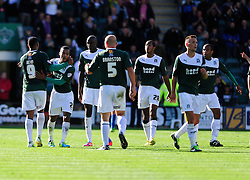 Plymouth Argyle's Reuben Reid celebrates with his team mates after scoring.  - Photo mandatory by-line: Dougie Allward/JMP - Tel: Mobile: 07966 386802 07/09/2013 - SPORT - FOOTBALL -  Home Park - Plymouth - Plymouth Argyle V Bristol Rovers - Sky Bet League Two