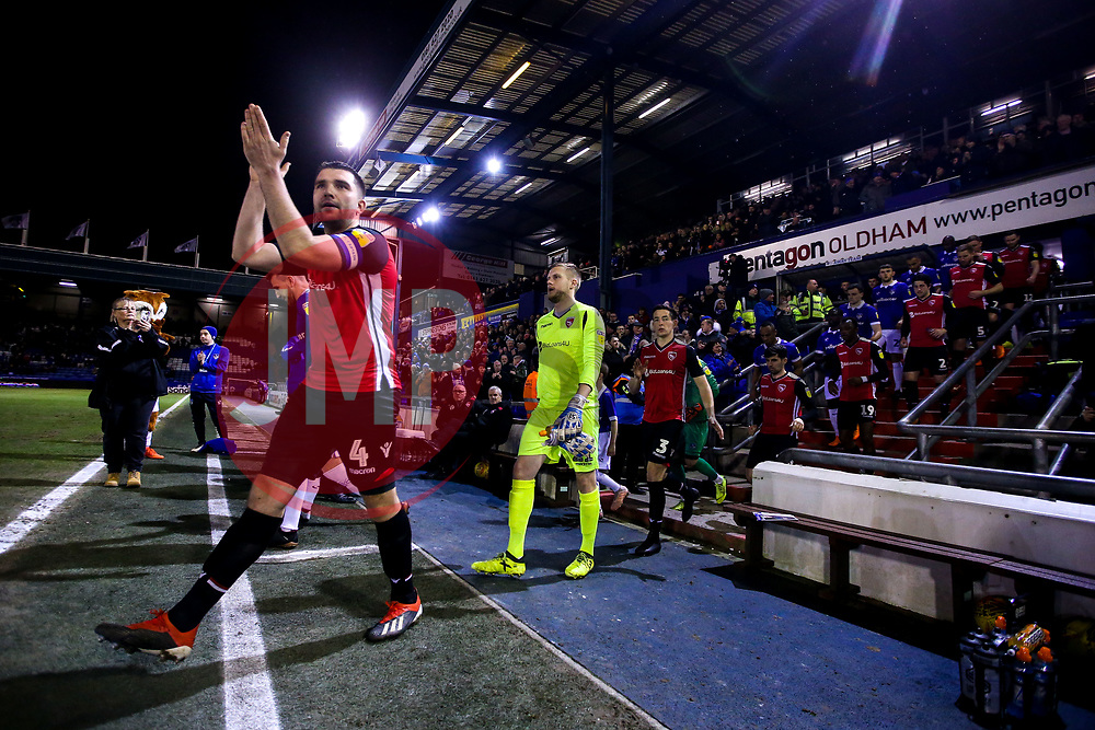 Alex Kenyon of Morecambe leads his side out at Oldham Athletic - Mandatory by-line: Robbie Stephenson/JMP - 19/02/2019 - FOOTBALL - Boundary Park - Oldham, England - Oldham Athletic v Morecambe - Sky Bet League Two