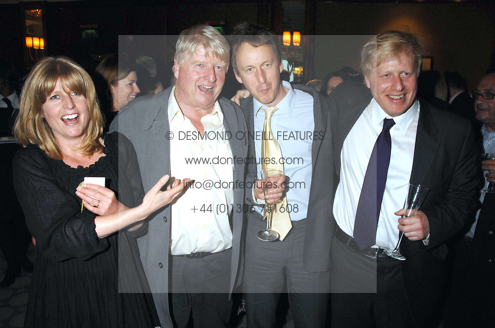 Left to right, RACHEL JOHNSON, STANLEY JOHNSON, SEBASTIAN SHAKESPEARE and BORIS JOHNSON at a party to celebrate the 180th Anniversary of The Spectator magazine, held at the Hyatt Regency London - The Churchill, 30 Portman Square, London on 7th May 2008.<br /><br />NON EXCLUSIVE - WORLD RIGHTS