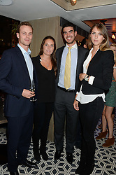 Left to right, MICHAEL ROBINSON, ALEXANDRA POPE, EDWARD OSBORNE and SABRINA PERCY at the Launch of Pont St Restaurant at Belgraves Hotel, 20 Chesham Place, London SW1 on 10th September 2013.