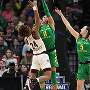 March 31, 2019; Portland, OR, USA; Oregon Ducks forward Satou Sabally (0) defends Mississippi State Bulldogs guard Jordan Danberry (24) in the Elite Eight of the NCAA Women's Tournament at Moda Center.<br /> Photo by Jaime Valdez
