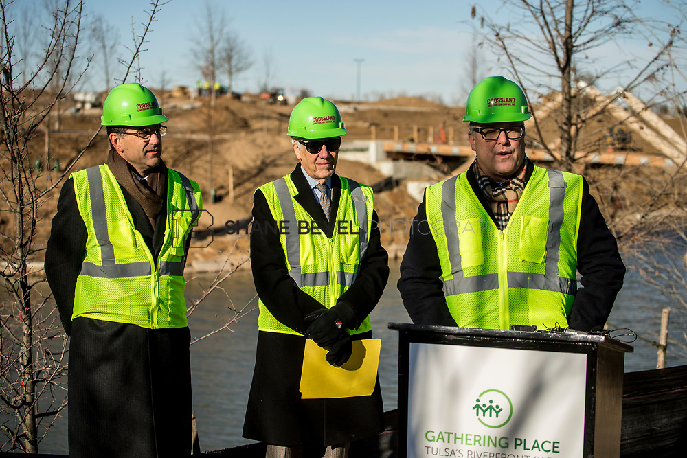 1/12/18 11:05:30 AM -- Halliburton CEO Jeff Miller and George Kaiser visit the Gathering Place for a press conference announcing Halliburton's support for the park. <br /> <br /> Photo by Shane Bevel