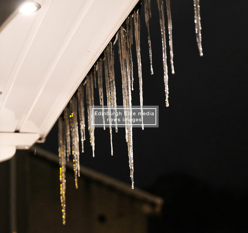 Beast From The East, 2nd March 2018<br /> <br /> Icicles form as the snow begins to melt and the temperature rises after The Beast From The East storm hit central Scotland. <br /> <br /> Alex Todd | EEm