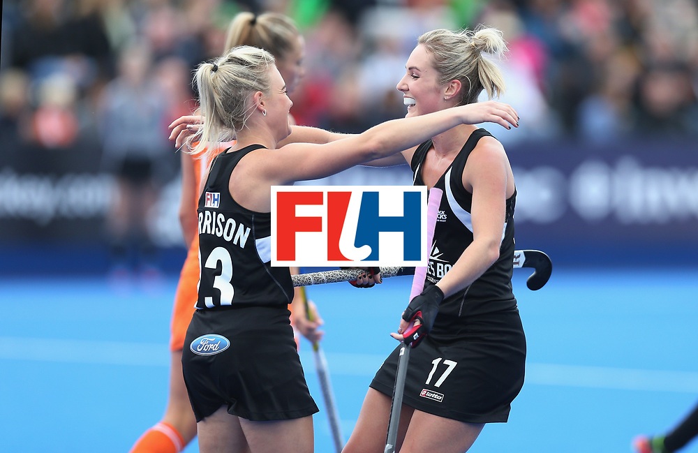 LONDON, ENGLAND - JUNE 18:  Charlotte Harrison of New Zealand celebrates scoring their first goal during the FIH Women's Hockey Champions Trophy match between Netherlands and New Zealand at Queen Elizabeth Olympic Park on June 18, 2016 in London, England.  (Photo by Alex Morton/Getty Images)