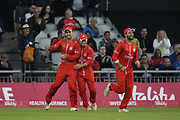 Lancashires Liam Livingstone (Capt) great catch is congratulated by his team mates during the Vitality T20 Blast North Group match between Lancashire County Cricket Club and Yorkshire County Cricket Club at the Emirates, Old Trafford, Manchester, United Kingdom on 20 July 2018. Picture by George Franks.