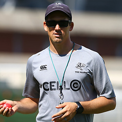 DURBAN, SOUTH AFRICA - FEBRUARY 12: Alan Basson - Zondagh (Skills Coach) of the Cell C Sharks during the Cell C Sharks training session at Growthpoint Kings Park on February 12, 2018 in Durban, South Africa. (Photo by Steve Haag/Gallo Images)