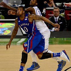 Apr 2, 2012; New Orleans, LA, USA; Kansas Jayhawks forward Thomas Robinson (0) and Kentucky Wildcats forward Michael Kidd-Gilchrist (back) go for a loose ball during the first half in the finals of the 2012 NCAA men's basketball Final Four at the Mercedes-Benz Superdome. Mandatory Credit: Derick E. Hingle-US PRESSWIRE