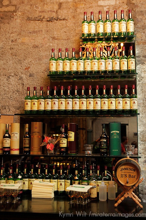 Europe, Ireland, Dublin. Jameson Whiskey display at the Old Jameson Distillery.