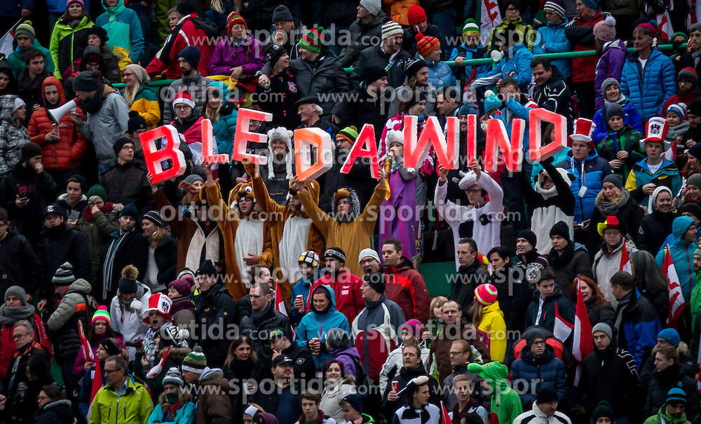"04.01.2014, Bergisel Schanze, Innsbruck, AUT, FIS Ski Sprung Weltcup, 62. Vierschanzentournee, Bewerb, im Bild Fans mit den Schriftzug ""Bleda Wind"" // fans with the lettering ""Bleda Wind"" it means bad wind conditions after Competition of 62nd Four Hills Tournament of FIS Ski Jumping World Cup at the Bergisel Schanze, Innsbruck, Austria on 2014/01/04. EXPA Pictures © 2014, PhotoCredit: EXPA/ JFK"