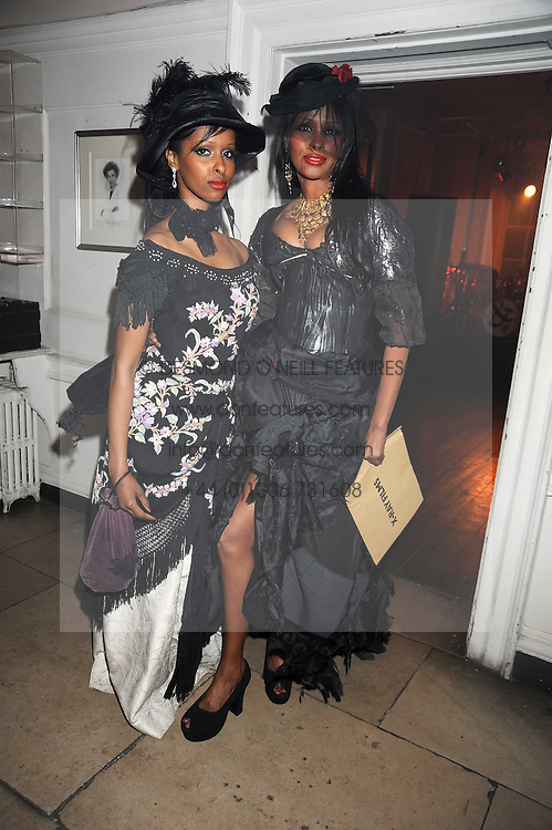 Left to right, SAGAL MOHAMED and AYAN HUSSEIN at a Halloween party hosted by Alexa Chung and Browns Focus held at the House of St.Barnabas, 1 Greek Street, London on 31st October 2008.