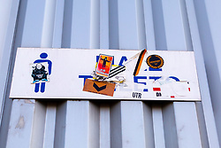 A general view of graffiti on a Mansfield Town sign outside the One Call Stadium, home to Mansfield Town - Mandatory by-line: Ryan Crockett/JMP - 01/09/2018 - FOOTBALL - One Call Stadium - Mansfield, England - Mansfield Town v Carlisle United - Sky Bet League Two