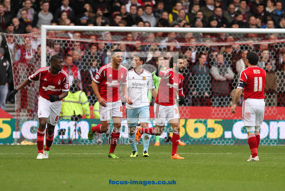 Picture by Tom Smith/Focus Images Ltd 07545141164<br /> 05/01/2014<br /> Djamel Abdoun (centre right) of Nottingham Forest celebrates scoring his sides first goal during the The FA Cup match at the City Ground, Nottingham.