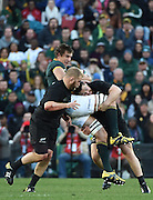 JOHANNESBURG, South Africa, 25 July 2015 : Eben Etzebeth of the Springboks is tackled by Dane Coles of the All Blacks during the Castle Lager Rugby Championship test match between SOUTH AFRICA and NEW ZEALAND at Emirates Airline Park in Johannesburg, South Africa on 25 July 2015. Bokke 20 - 27 All Blacks<br /> <br /> © Anton de Villiers / SASPA