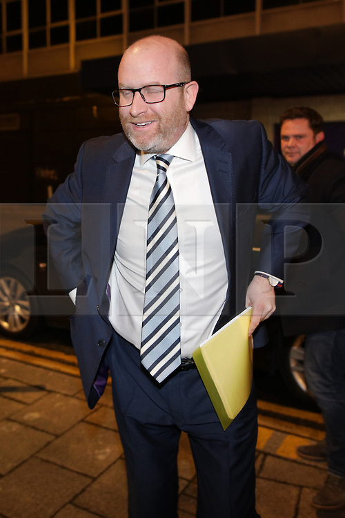 © Licensed to London News Pictures . 16/02/2017. Stoke-on-Trent, UK. PAUL NUTTALL arrives.   Candidates for the seat of Stoke-on-Trent central , including Jack Brereton for the Conservative Party, UKIP's Paul Nuttall , Zulfiqar Ali  for the Lib Dems , Labour's Gareth Snell and Adam Colclough for the Green Party arrive at BBC Stoke for a live radio debate . The by-election in the constituency of Stoke-on-Trent Central . Photo credit: Joel Goodman/LNP