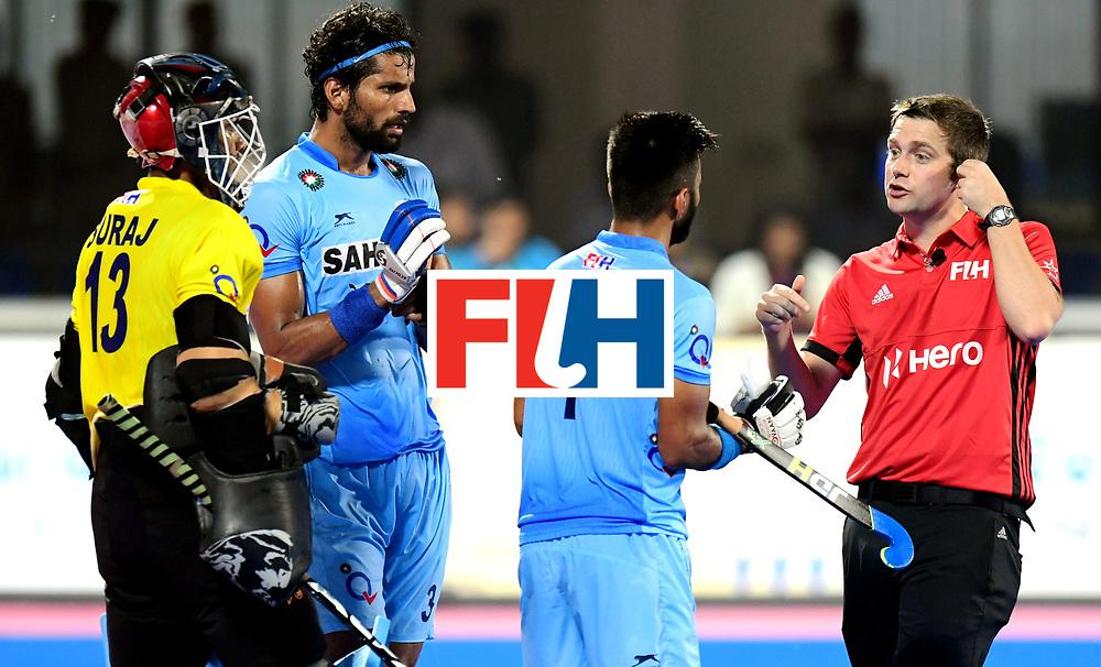 Odisha Men's Hockey World League Final Bhubaneswar 2017<br /> Match id:21<br /> India v Germany<br /> Foto: Manpreet Singh (Ind) talks with the Umpire<br /> COPYRIGHT WORLDSPORTPICS FRANK UIJLENBROEK