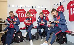 Bristol City Women players studying the programme for todays game against Liverpool FC Women - Mandatory by-line: Paul Knight/JMP - 17/11/2018 - FOOTBALL - Stoke Gifford Stadium - Bristol, England - Bristol City Women v Liverpool Women - FA Women's Super League 1