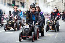 © Licensed to London News Pictures. 01/01/2018. London, UK. Miniature steam engines at the New Year's Day Parade in Central London. Photo credit: Rob Pinney/LNP