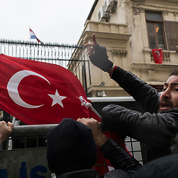People protest in front of the Dutch consulate in Istanbul, Turkey on March 12, 2017. <br /> The night before protests erupted after Turkish Foreign Minister Mevlut Cavusoglu was barred from entering Holland to address Turkish expats on the referendum.<br /> On April 16, 2017, Turkish citizens will vote on proposed changes on the constitution that could replace the current parliamentary government system with a presidential one.