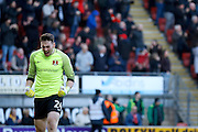 Leyton Orient goalkeeper Sam Sargeant (24) celebrates a goal from Leyton Orient defender Teddy Mézague (19) goal (score 2-2) during the EFL Sky Bet League 2 match between Leyton Orient and Notts County at the Matchroom Stadium, London, England on 18 February 2017. Photo by Andy Walter.