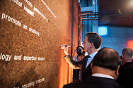 20.10.2018. Copenhagen, Denmark.  <br /> Prime Minister of the Netherlands HE Mark Rutte signing of the Copenhagen Commitment as a way to accelerate action, partnerships and solutions, during the P4G Copenhagen Summit 2018 in The Danish Radio Concert Hall.<br /> Photo: © Ricardo Ramirez