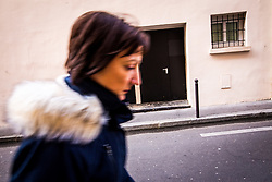 November 3, 2018 - Paris, Ile-de-France (region, France - A woman walks down a side street of the Bataclan concert hall where a terrorist attack killed 90 people on November 13, 2015. (Credit Image: © Sadak Souici/Le Pictorium Agency via ZUMA Press)