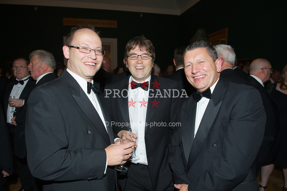 CARDIFF, WALES - Monday, October 8, 2012: Sky Sports' Alex Gage, Sgorio's Gary Pritchard and xxxx during the FAW Player of the Year Awards Dinner at the National Museum Cardiff. (Pic by David Rawcliffe/Propaganda)
