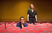 The Flick <br /> by Annie Baker <br /> at the Dorfman Theatre, National Theatre, Southbank, London, Great Britain <br /> 18th April 2016 <br /> <br /> Louise Krause as Rose<br /> <br /> <br /> <br /> Jaygann Ayeh as Avery <br /> <br /> <br /> <br /> Photograph by Elliott Franks <br /> Image licensed to Elliott Franks Photography Services