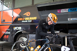 Skylar Schneider (USA) of Boels-Dolmans Cycling Team prepares for the Trofeo Alfredo Binda - a 131,1 km road race, between Taino and Cittiglio on March 18, 2018, in Varese, Italy. (Photo by Balint Hamvas/Velofocus.com)