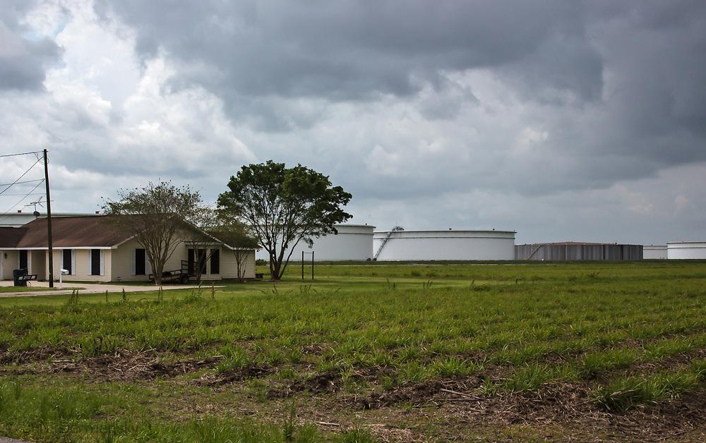 Home in St. James, LA, near Oil Storage tank farms, in the area where the Bayou Bridge pipeline will end if buitl.