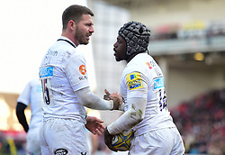 Christian Wade of Wasps celebrates his try with Willie Le Roux of Wasps - Mandatory by-line: Alex James/JMP - 24/02/2018 - RUGBY - Kingsholm - Gloucester, England - Gloucester Rugby v Wasps - Aviva Premiership