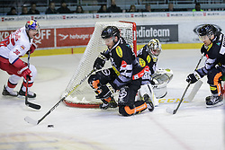 18.11.2016, Messestadion, Dornbirn, AUT, EBEL, Dornbirner Eishockey Club vs EC Red Bull Salzburg, 20. Runde, im Bild v. l. Nicholas Crawford, (Dornbirner Eishockey Club, #04), Florian Hardy, (Dornbirner Eishockey Club, #49) und Brock McBride, (Dornbirner Eishockey Club, #86) // during the Erste Bank Icehockey League 20th round match between Dornbirner Eishockey Club and EC Red Bull Salzburg at the Messestadion in Dornbirn, Austria on 2016/11/18, EXPA Pictures © 2016, PhotoCredit: EXPA/ Peter Rinderer