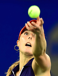 WUHAN,  Sept. 28,  2017 Alize Cornet of France serves during the singles quarterfinal match against Maria Sakkari of Greece at 2017 WTA Wuhan Open in Wuhan, capital of central China's Hubei Province, on Sept. 28, 2017. Alize Cornet lost 0-2.  wdz) (Credit Image: © Xiong Qi/Xinhua via ZUMA Wire)