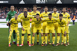 December 23, 2017 - Valencia, Spain - Line up villarreal CF (Sergio Asenjo, Carlos Bacca, Rodrigo, Victor Ruiz, Alvaro, Mario Gaspar, Samu Castillejo, Bakambu, Rukavina, Pablo Fornals, Manu Trigueros)during the match between Valencia CF against Villarreal CF , week 17 of  La Liga 2017/18 at Mestalla stadium, Valencia, SPAIN - 17th December of 2017. (Credit Image: © Jose Breton/NurPhoto via ZUMA Press)