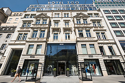 Traditional architecture of Hotel Zoo on famous Kurfurstendamm, Kudamm, shopping street in Charlottenburg, Berlin Germany