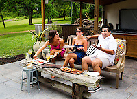 Celebrity chef Jose Garces dines with guests at his country home outside of Philadelphia.<br /> <br /> Scott Lewis for The Wall Street Journal<br /> TOT_POOL