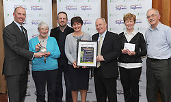 Roscommon Tidy Towns Co Roscommon silver Medal Winners at the North West and West Region Awards ceremony collecting their prize from Minister of State for Rural development Michael Ring TD and Richard Lennon Supervalu.<br /> Pic Conor McKeown