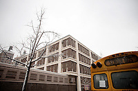3 February, 2009. New York, NY. The exterior of Louis D. Brendeis High School in the Upper West Side.  Brandeis High School will be closed by the City in order to have smaller high schools.<br /> <br /> ©2009 Gianni Cipriano for The New York Times<br /> cell. +1 646 465 2168 (USA)<br /> cell. +1 328 567 7923 (Italy)<br /> gianni@giannicipriano.com<br /> www.giannicipriano.com
