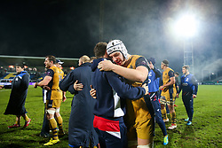 Mitch Eadie of Bristol Rugby celebrates after Bristol Rugby win the game 18-28 - Rogan Thomson/JMP - 16/12/2016 - RUGBY UNION - Stade du Hameau - Pau, France - Pau v Bristol Rugby - EPCR Challenge Cup.
