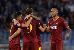 October 2, 2018 - Rome, Italy - Edin Dzeko celebrates after scoring goal 2-0 during the UEFA Champions League match group G between AS Roma and Viktoria Plzen at the Olympic stadium on october 02, 2018 in Rome, Italy. (Credit Image: © Silvia Lore/NurPhoto/ZUMA Press)