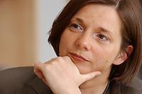 19 JUN 2003, BERLIN/GERMANY:<br /> Katrin Dagmar Goering-Eckardt, B90/Gruene Fraktionsvorsitzende, waehrend einem Interview in ihrem Buero, Jakob-Kaiser-Haus, Deutscher Bundestag<br /> IMAGE: 20030619-01-045<br /> KEYWORDS: Katrin Dagmar Göring-Eckardt