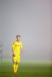 NEWPORT, WALES - Sunday, November 1, 2015: Wales' Keiron Proctor is shrouded in fog during the Under-16's Victory Shield International match against Scotland at Dragon Park. (Pic by David Rawcliffe/Propaganda)