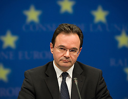 George Papaconstantinou, Greece's finance minister, speaks during a news conference following an emergency meeting of euro zone finance ministers in Brussels, on Sunday, May 2, 2010. Greece accepted an unprecedented bailout from the European Union and International Monetary Fund worth more than 110 billion euros ($146 billion). (Photo © Jock Fistick)