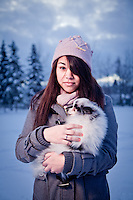 Bartlett High School student, Kiana Mitchell, with her dog, Bear, Valley of the Moon Park, Anchorage