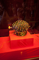 An ancient crown from the King of the Ryukyu Kingdom on display at Shuri Castle, Naha, Okinawa, Japan.