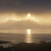 Beautiful morning watching the sun rise over Sgurr Eireagoraidh from Armadale, Isle of Skye