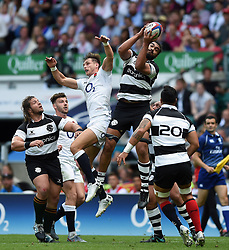 Chris Vui of the Barbarians wins the ball in the air - Mandatory byline: Patrick Khachfe/JMP - 07966 386802 - 02/06/2019 - RUGBY UNION - Twickenham Stadium - London, England - England XV v Barbarians - Quilter Cup International