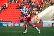 Doncaster Rovers Midfielder Tommy Rowe (10) looks back as he scores a goal 1-0 during the The FA Cup match between Doncaster Rovers and Scunthorpe United at the Keepmoat Stadium, Doncaster, England on 3 December 2017. Photo by Craig Zadoroznyj.