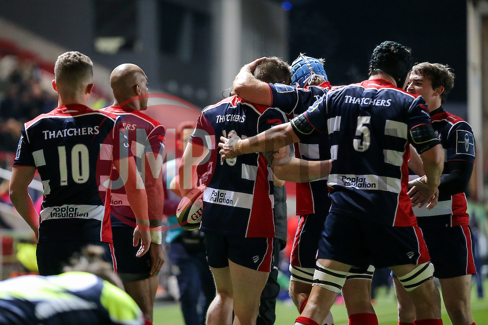 Jason Woodward of Bristol Rugby celebrates with his new teammates after scoring a try - Rogan Thomson/JMP - 11/11/2016 - RUGBY UNION - Ashton Gate Stadium - Bristol, England - Bristol Rugby v Sale Sharks - Anglo Welsh Cup.
